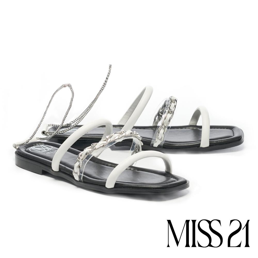 拖鞋 MISS 21 前衛叛逆異材質繫帶鏈條方頭低跟拖鞋-白