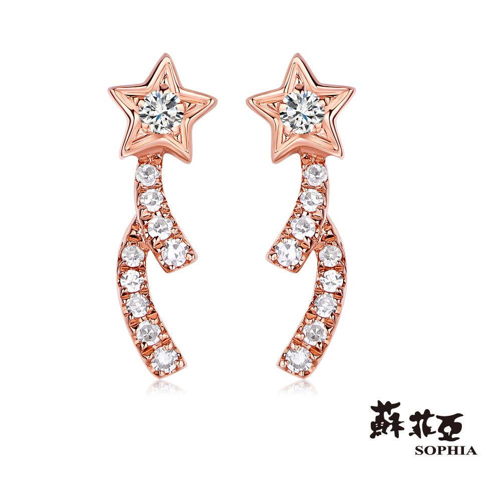 蘇菲亞SOPHIA - 許願流星玫瑰金鑽石耳環