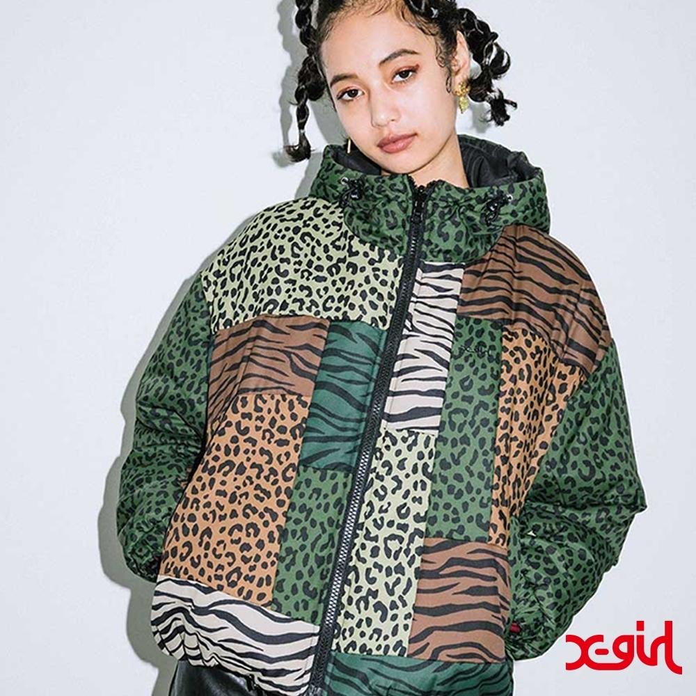 X-girl PATCHWORK PUFFER JACKET雙面防風外套-橄欖綠