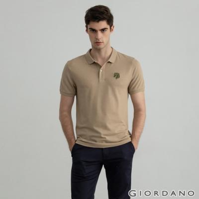 GIORDANO  男裝簡約刺繡馬頭POLO衫 - 09 雪花銀貂褐