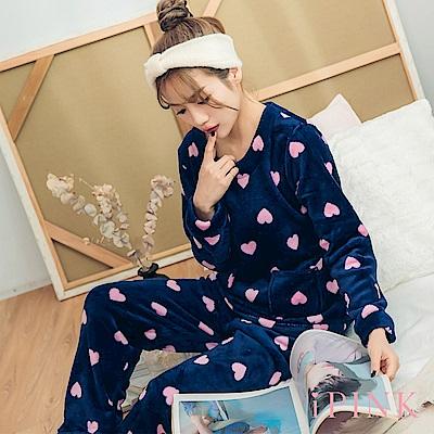 i PINK 冬日樂園 法蘭絨圓領居家服睡衣套裝(深藍心)