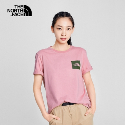 The North Face北面男女款粉色LOGO圓領短袖T恤 5B3EZCF