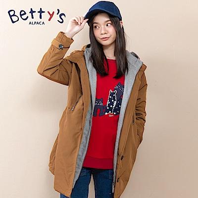 betty's貝蒂思 連帽配色混羊毛鋪棉大衣(卡其)