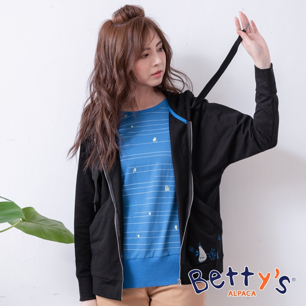 betty's貝蒂思 休閒風純色連帽外套(黑色)