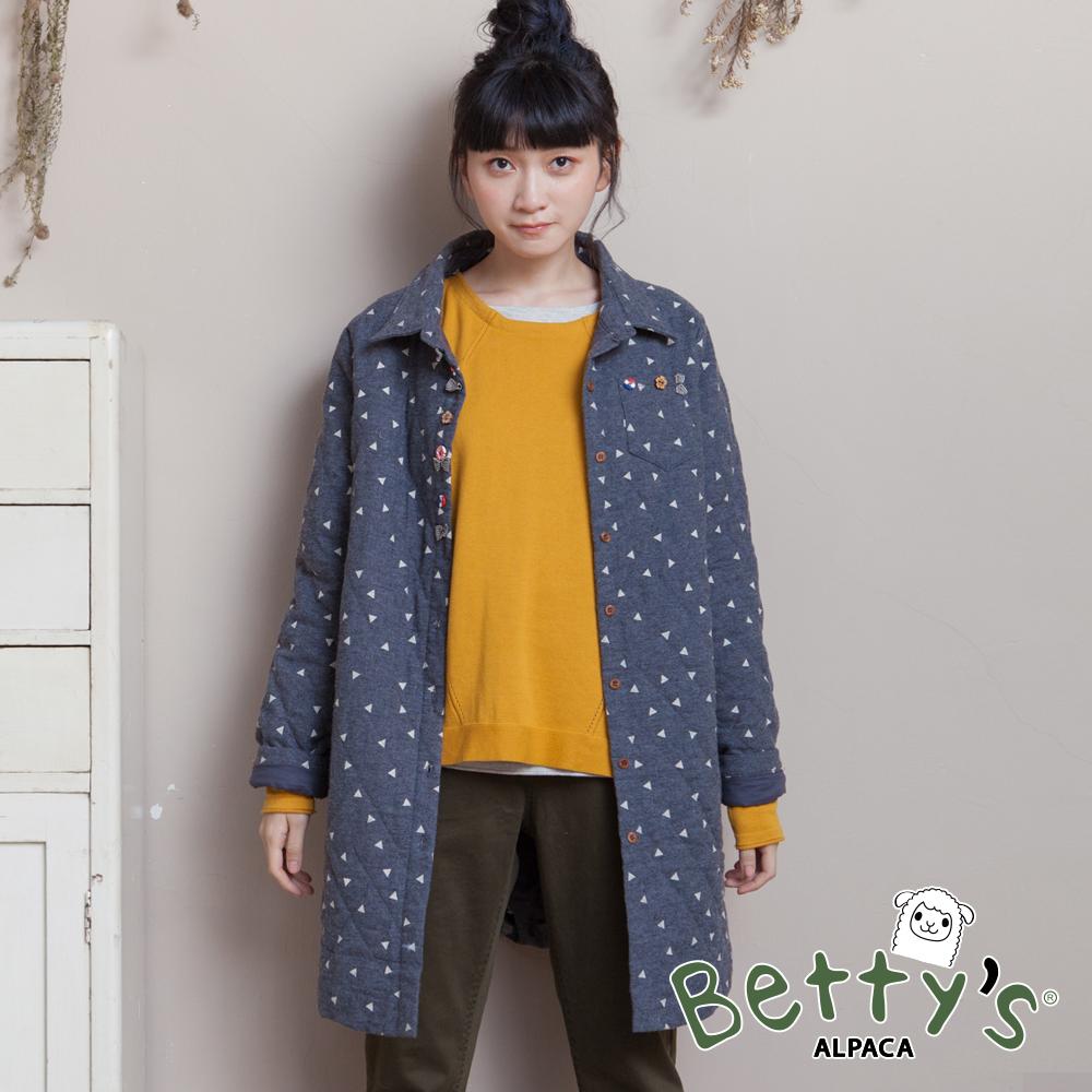 betty's貝蒂思 鋪棉三角印花排釦大衣(深藍)