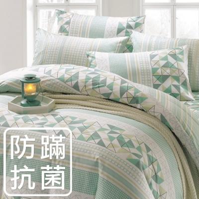 鴻宇 美國棉100%精梳棉 防蟎抗菌 夢時尚 綠 單人三件式薄被套床包組