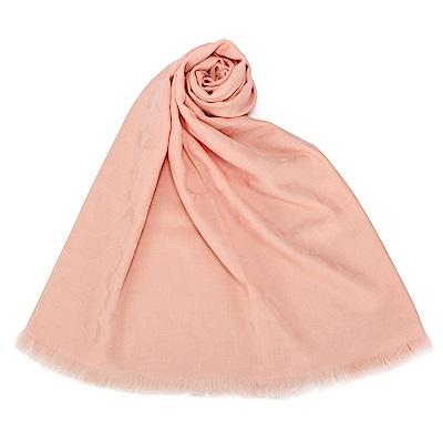 COACH 經典滿版LOGO羊毛混絲針織披肩圍巾-淺粉色