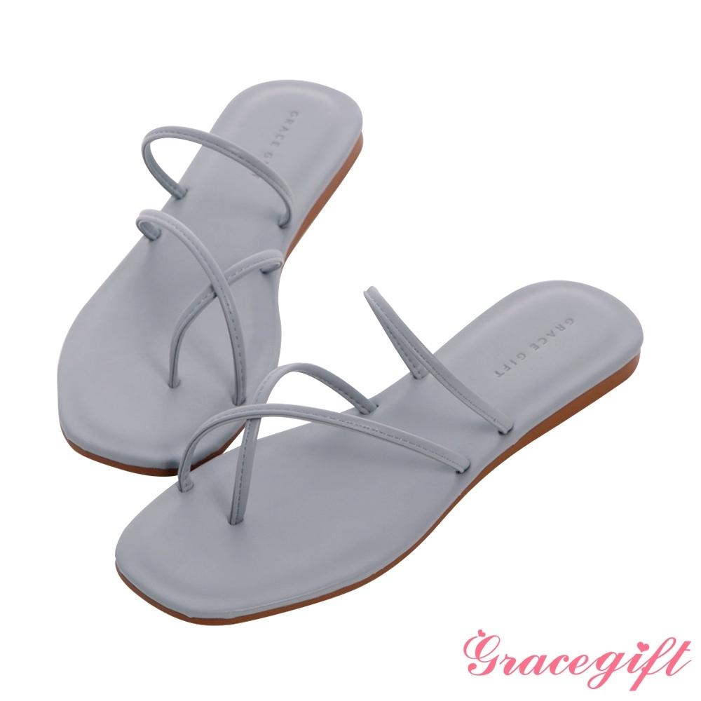 Grace gift-交叉套趾平底涼拖鞋 藍