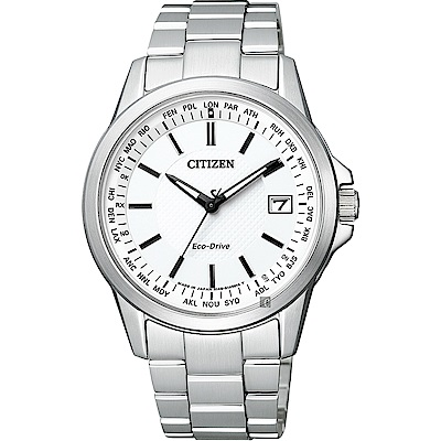 CITIZEN 星辰 限量 光動能電波萬年曆手錶(CB1090-59A)-白x銀/39mm