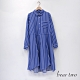 bear two- 條紋襯衫式長洋裝 - 藍 product thumbnail 1