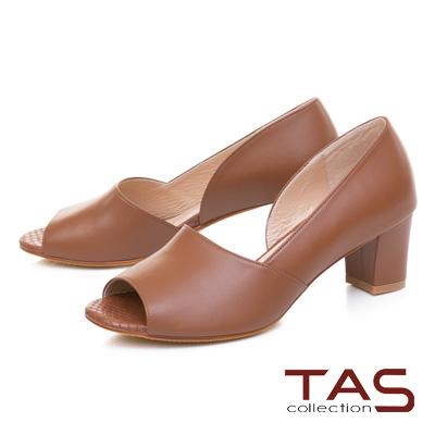 TAS質感素面羊皮側鏤空魚口粗跟鞋-焦糖棕