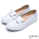 DIANA漫步雲端超厚切焦糖美人款--可愛兔耳真皮圓頭平底休閒鞋-白