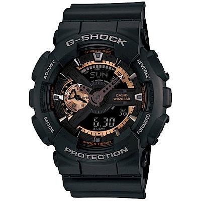G-SHOCK 重機黑金潮流雙顯運動錶(GA-110RG-1A)-黑/51.2mm