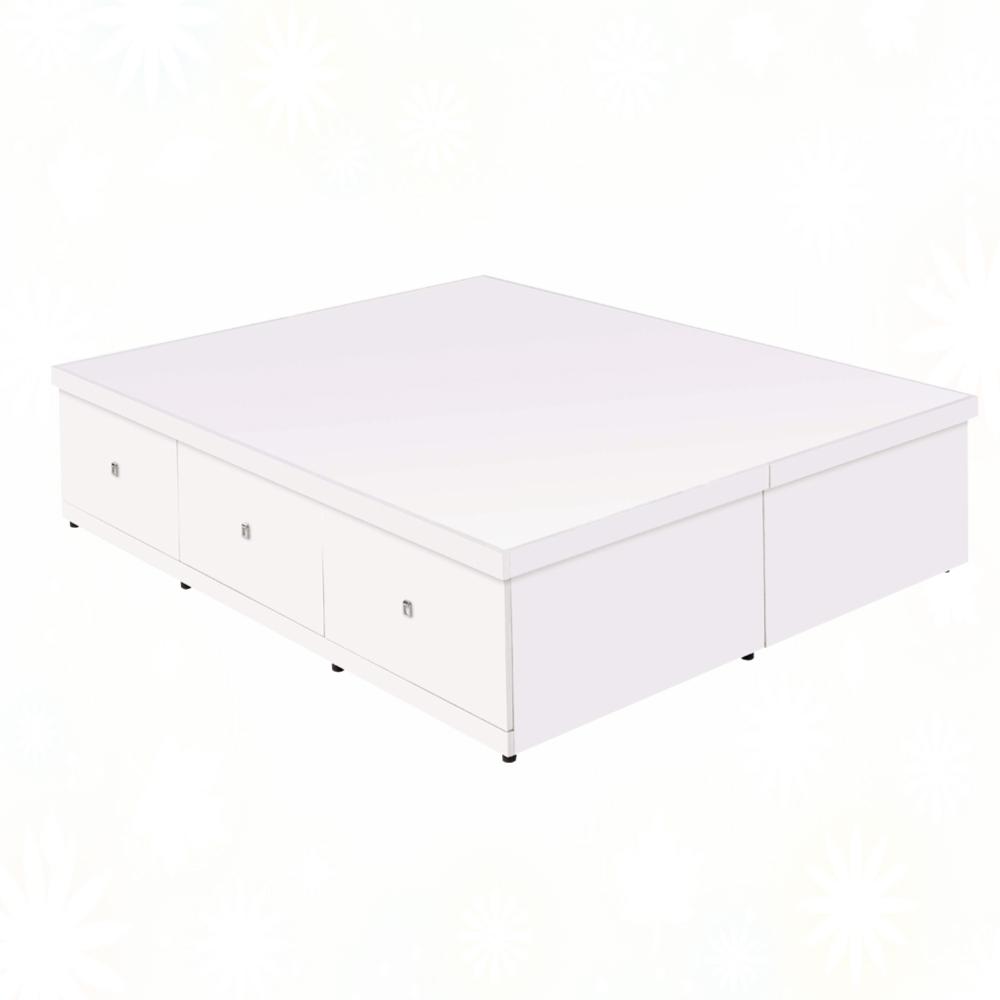 文創集 潘爾拉 現代6尺雙人加大三抽多功能收加高床底(三色可選+可掀式床板+不含床墊)-182x188x45cm免組