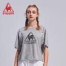 le coq sportif 法國公雞牌印花織帶蝙蝠短袖T恤 女-灰