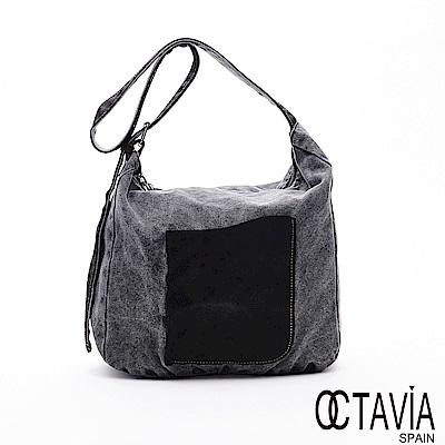 OCTAVIA8 - 石磨石 仿舊復刻大拉口帆布配皮肩斜背二用包 - 黑磨灰