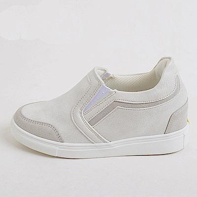 【AIRKOREA韓國空運】正韓皮革質感拼接休閒隱形增高鞋-白