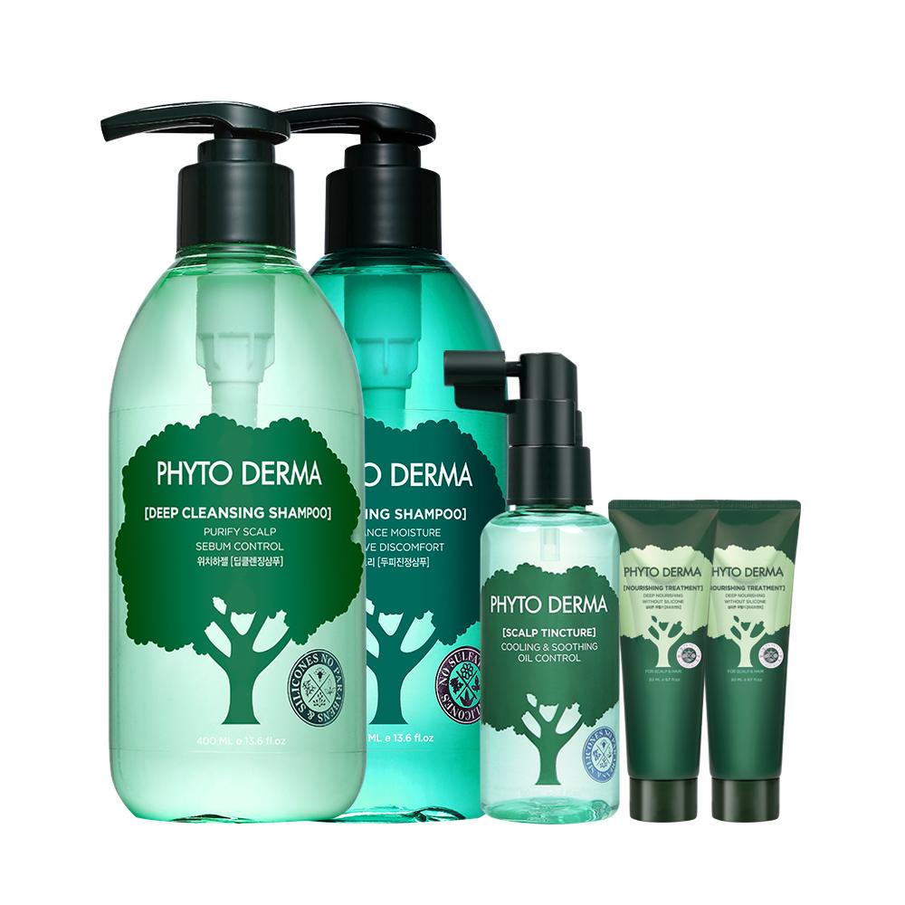 Phyto Derma 朵蔓-頭皮淨化護理五件組(清涼+控油+噴霧)