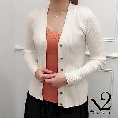 外套 正韓V領釦素色螺紋長袖針織外套(白) N2