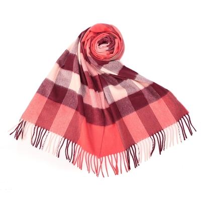 BURBERRY 經典方格紋100%喀什米爾羊毛圍巾(200X36cm)-大/粉磚紅色