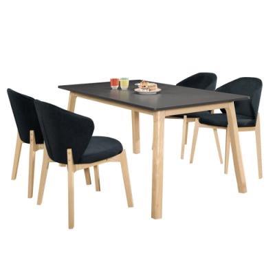 Boden-桑娜5.3尺北歐風黑色餐桌椅組合(一桌四椅)-160x90x76cm