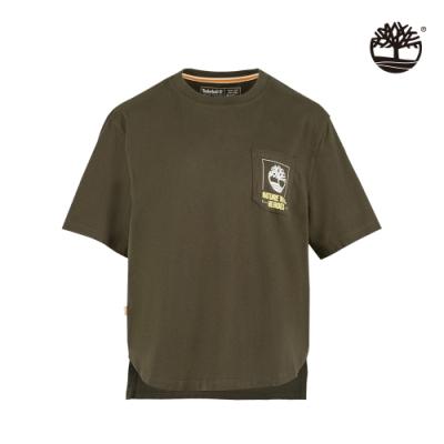 Timberland 女款軍綠色NATURE NEEDS HEROES口袋圖案短袖T恤 A2FY3