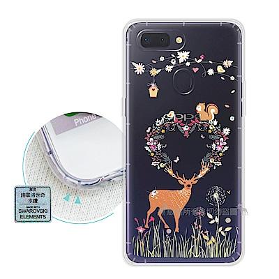 EVO OPPO R15 Pro 異國風情 水鑽空壓氣墊手機殼(小鹿松鼠)