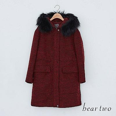 beartwo 高貴典雅毛呢拉鍊毛領大衣外套(紅色)