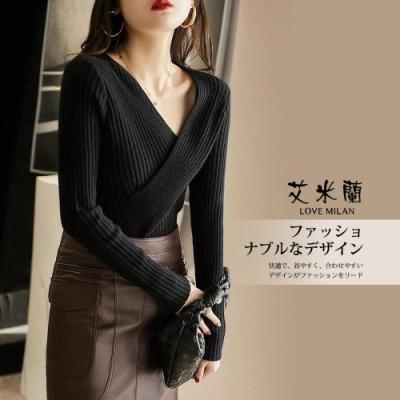 艾米蘭-韓版優雅V領交叉造型上衣-4色(S-L)