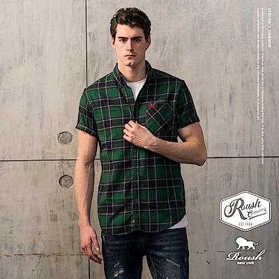Roush 基本款法蘭絨格紋短袖襯衫(2色)