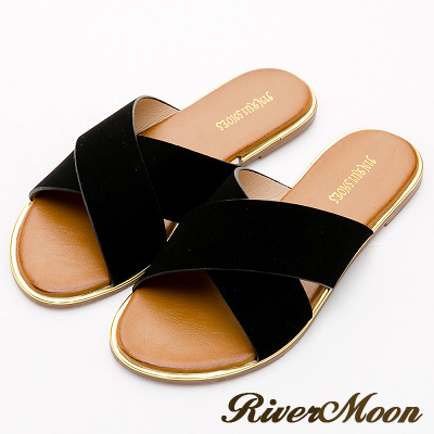 River&Moon中大尺碼-簡單素面寬版交叉飾金邊涼拖鞋-麂絨黑