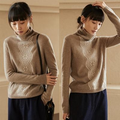 高端100%山羊絨毛衣高領彈力保暖內搭-設計所在