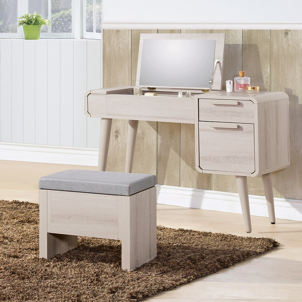 Boden-珊迪3尺北歐風掀蓋式化妝桌/鏡台(贈化妝椅)-91x41x76cm