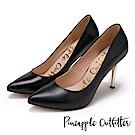 Pineapple Outfitter 性感名媛 真皮素面尖頭金屬高跟鞋-黑色