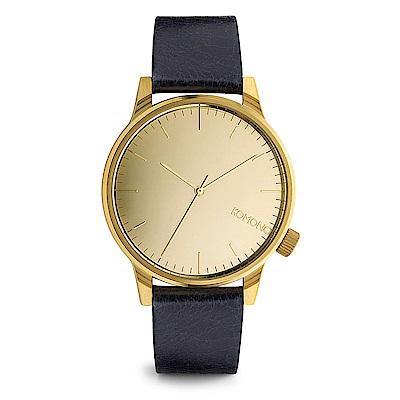 KOMONO Winston Mirror 腕錶-藍調x琥珀金/41mm