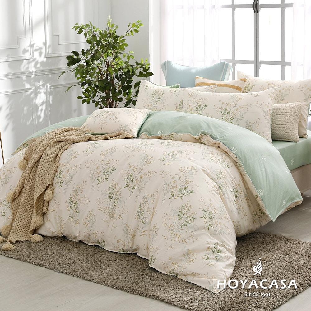 HOYACASA 100%精梳棉雙人兩用被床四件式包組-初晨葉曲(天絲入棉30%)