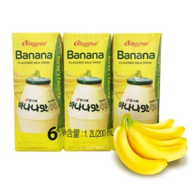 韓味不二 BINGGRAE香蕉牛奶(調味乳)(200mlx6入)