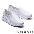 休閒鞋 MELROSE 簡約率性沖孔造型拼接全真皮厚底休閒鞋-粉