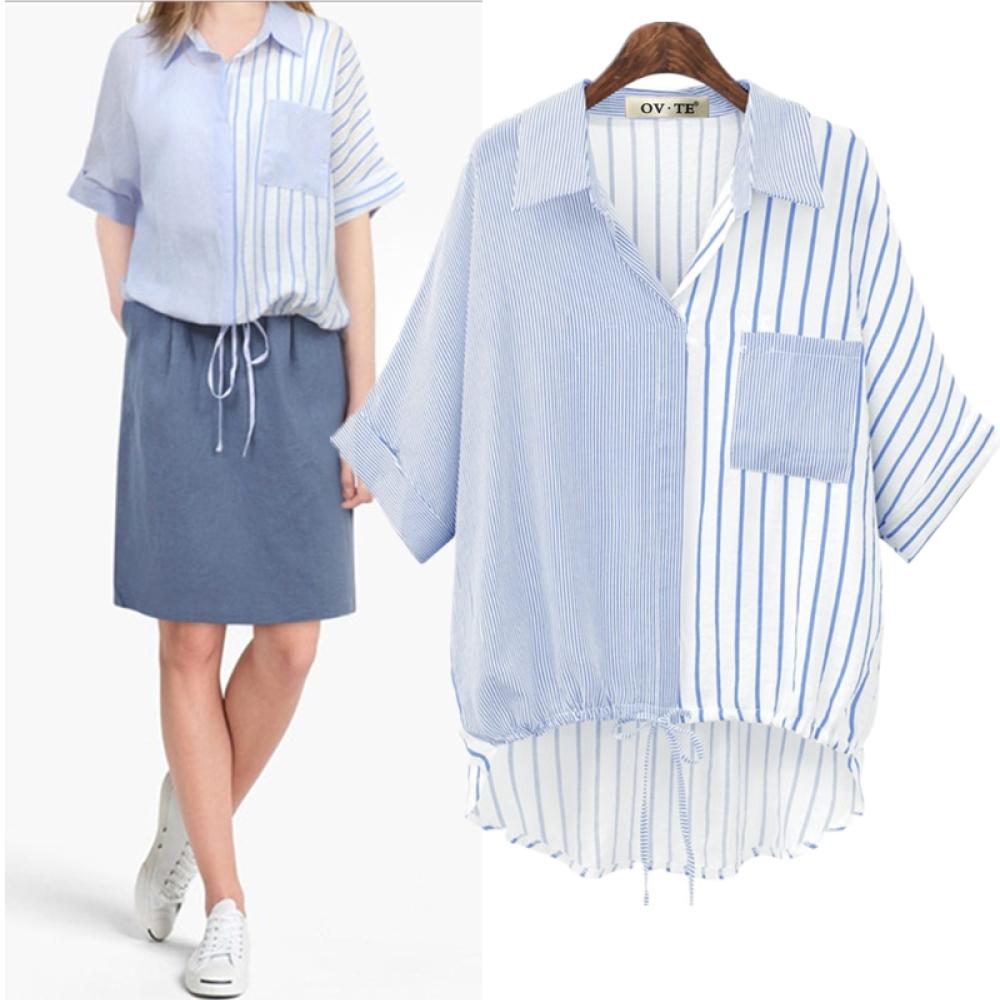 MOCOV領襯衫拼接色條紋下擺繫帶抽繩單口袋襯衫L~4XL
