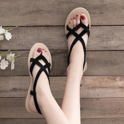 KEITH-WILL時尚鞋館 獨家價追加款完美腿型平底涼鞋-黑