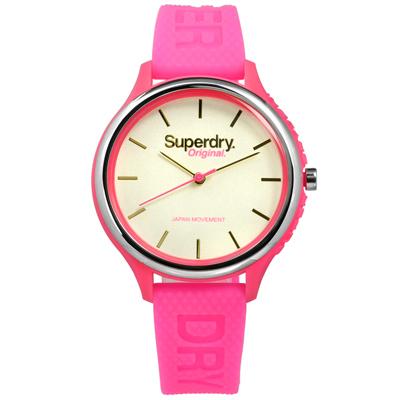 Superdry 極度乾燥 潮流品牌亮眼撞色日本機芯舒適矽膠手錶-米白x螢光粉/37mm