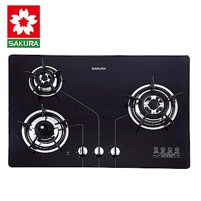 櫻花牌 G 2830 KG單邊防乾燒強化玻璃檯面式三口瓦斯爐(天然)
