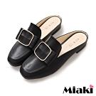 Miaki-穆勒鞋穿搭首選低跟包鞋-黑皮
