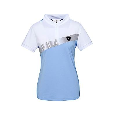 FILA 女款半門襟T恤-藍紫 5TET-1486-VT