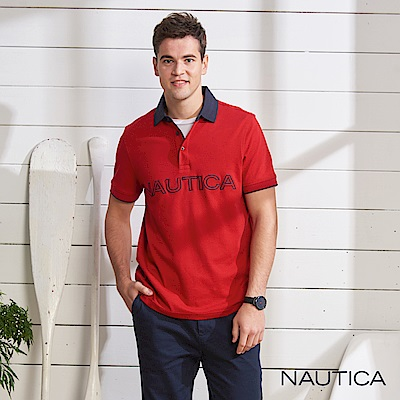 Nautica 合身撞色衣領短袖POLO衫-紅