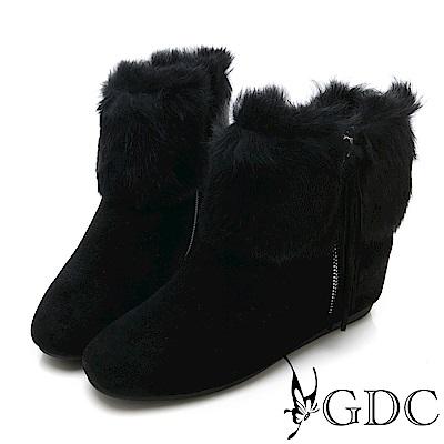 GDC-真皮毛絨水鑽貴婦秋冬短靴-黑色