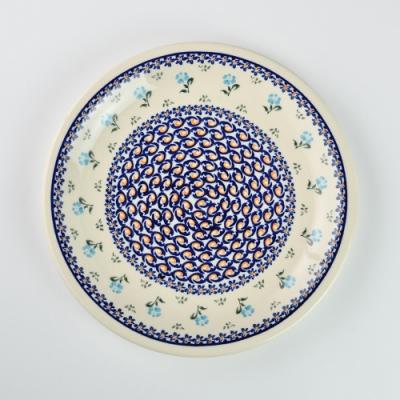 波蘭陶 青藍小花系列 圓形餐盤 27cm 波蘭手工製