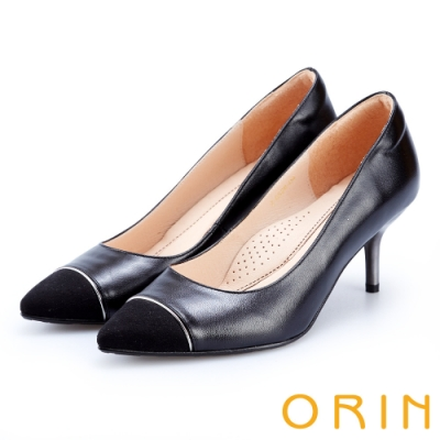 ORIN 優雅女人 雙皮質拼接尖頭高跟鞋-黑色