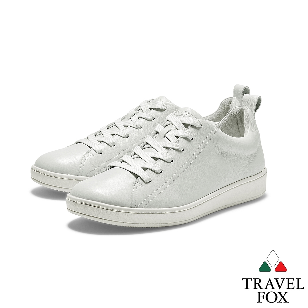 TRAVEL FOX(男) 新經典  全牛皮簡約都會運動休閒鞋 - 白色