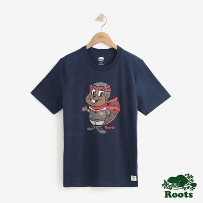 Roots 男裝-巴迪短袖T恤-藍